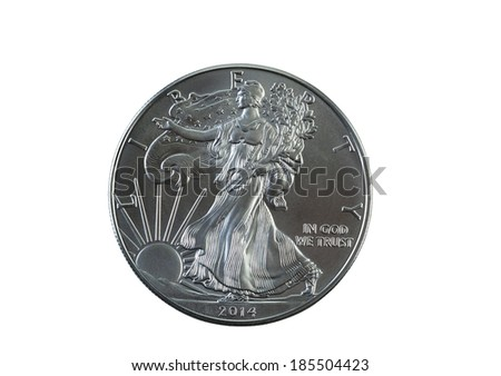 Closeup photo of an uncirculated condition American Silver Eagle Dollar isolated on white  - stock photo