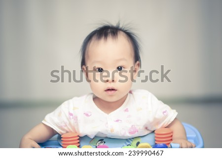 Closeup photo of beautiful cute asian baby's expression - stock photo