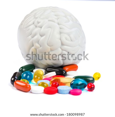Closeup photo of colorful neuropsychiatric roborating pills - stock photo