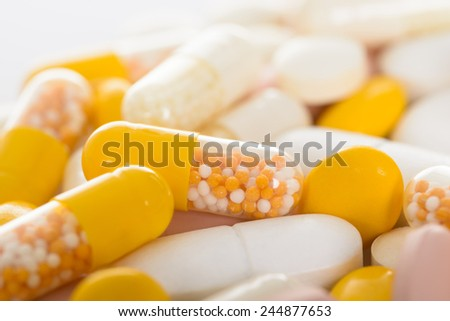 Closeup Photo Of Different Types Of Pills - stock photo