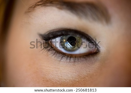 Closeup photo of female eye with computer screen reflecting in it - stock photo