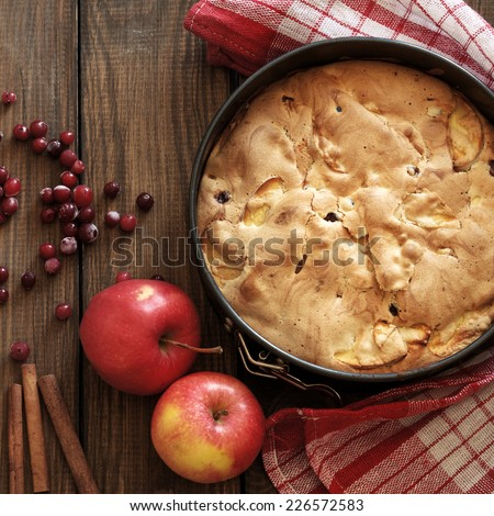 Closeup photo of holiday apple pie on rustic wooden background, top view point, square composition - stock photo