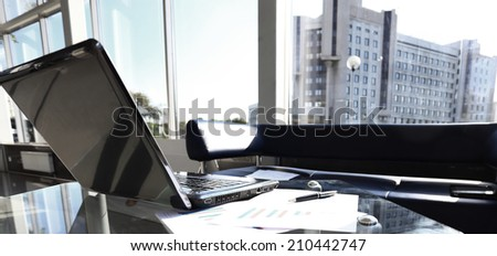 Closeup photo of laptop computer with open top. Blank screen. - stock photo