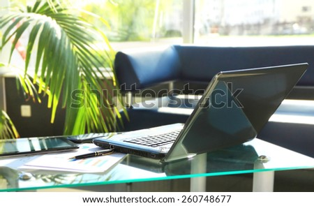 Closeup photo of laptop computer with open top. Blank screen - stock photo