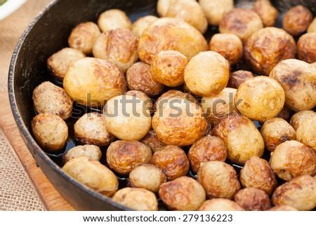 Closeup photo of roasted potatoes - stock photo