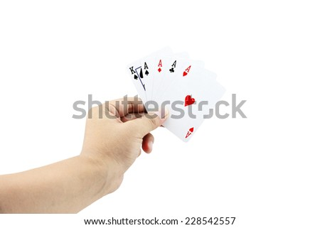 Closeup photos that focuses on The Four of a kind card with King card and ace four card of poker game in the hand on white background - stock photo