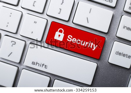 Closeup picture of Security button of a modern keyboard. - stock photo