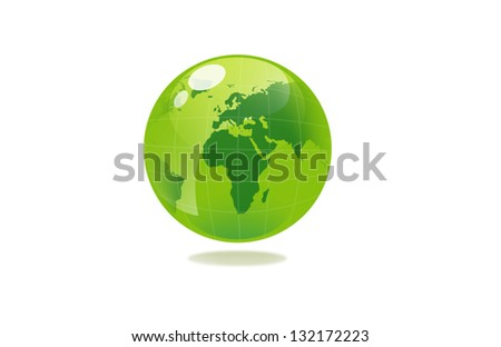 closeup picture or illustration of green sphere globe - stock photo