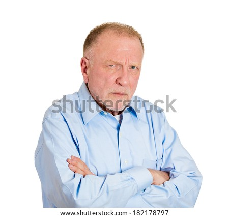 Closeup portrait angry, mad, annoyed, suspicious, senior business man, unhappy, looking at you, isolated white background. Human emotion, face expression, attitude,  interpersonal conflict resolution - stock photo