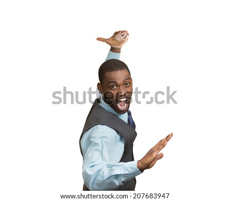Closeup portrait angry mad furious, company man raising hands in air attack with karate chop isolated white background. Negative human emotion facial expression feeling, body language, signs, symbols - stock photo