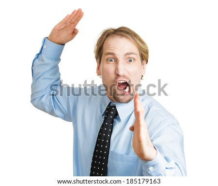Closeup portrait angry, mad, furious, man raising hands in the air attack with karate chop, isolated white background. Negative human emotion facial expression feelings, body language, signs, symbols - stock photo