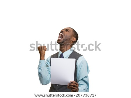 Closeup portrait angry, mad, screaming business man holding paper, document, screaming, looking up isolated white background. Negative emotions, facial expression, feeling. Financial crisis, bad news - stock photo