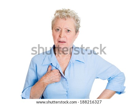 Closeup portrait angry, unhappy annoyed, surprised, senior mature woman, mad asking question you talking to, mean me? Isolated white background. Negative human emotions, facial expression reaction - stock photo