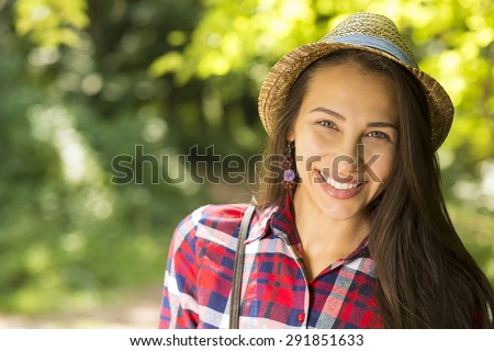 Closeup portrait beautiful happy woman enjoying summer day having fun in park. Positive human emotions feelings  - stock photo