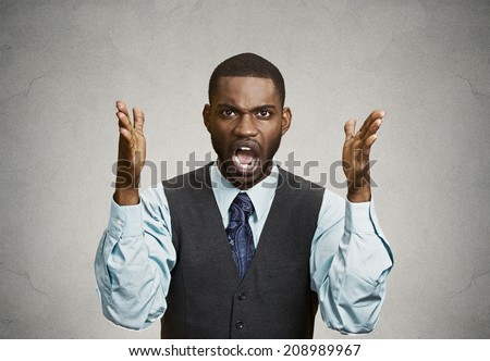 Closeup portrait bitter mad, displeased pissed off, angry grumpy corporate man, open mouth, hands in air, screaming, yelling isolated grey background. Negative human emotion facial expression feeling - stock photo
