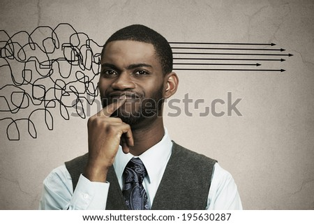 Closeup portrait business man thinking about something, finger on lips looking for solution of problem isolated black background. Emotion facial expression reaction, situation perception body language - stock photo