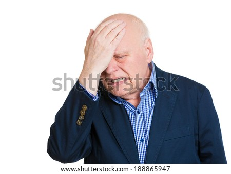 Closeup portrait, confused senior mature man placing hand on head, face palm gesture in duh moment, isolated white background. Negative human emotion facial expression feelings, body language - stock photo