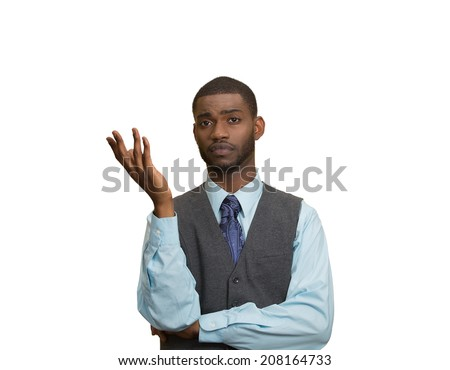 Closeup portrait dumb clueless young executive man, arm out asking why what problem so who cares, I don't know, isolated white color background. Negative human emotion facial expression feelings - stock photo