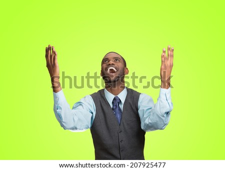 Closeup portrait excited, energetic, happy, screaming student, business man winning, arms, fists, hands pumped celebrating success isolated green background. Positive human emotion facial expression - stock photo
