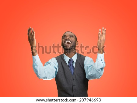 Closeup portrait excited, energetic, happy, screaming student, business man winning, arms, fists hands pumped, celebrating success isolated red background. Positive human emotion, facial expression - stock photo