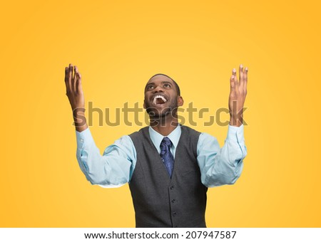 Closeup portrait excited, energetic, happy, screaming student, business man winning, arms, fists hands pumped, celebrating success isolated yellow background. Positive human emotion facial expression - stock photo