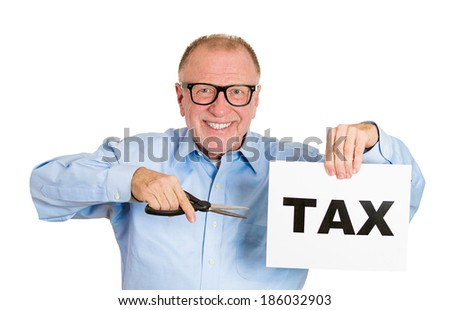 Closeup portrait, excited, happy, energetic enthusiastic nerd senior, mature business man, funny guy, worker, dedicated employee cutting taxes with scissors isolated white background. Government. IRS. - stock photo