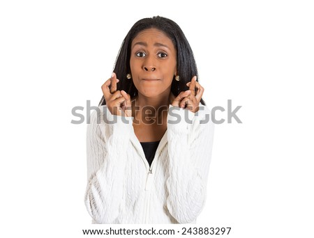 Closeup portrait excited hopeful beautiful woman, mother crossing her fingers hoping, waiting, asking for best isolated white background. Human face expression emotions, feeling body language reaction - stock photo