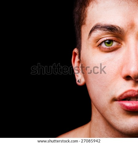 Closeup portrait - half face of handsome man - stock photo