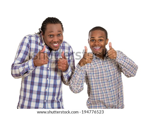 Closeup portrait handsome happy, young business men showing two thumbs up sign gesture symbol, isolated white background. Positive facial expressions, emotions, feelings, attitude, life perception - stock photo