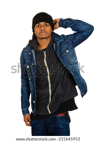 Closeup portrait handsome young man, posing fashion model, dressed in jeans, hoodie  isolated white background. Human face expressions, confidence body language, modern youth culture - stock photo
