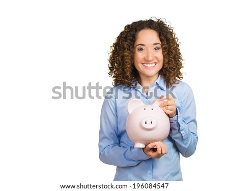 Closeup portrait happy beautiful business woman bank employee, student hugging piggy bank, excited open savings account isolated white background. Financial concept. Positive emotion facial expression - stock photo