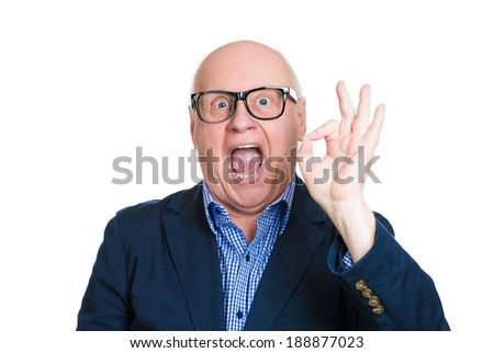 Closeup portrait, happy, cheerful, smiling, senior mature nerd man in black glasses, showing OK sign, isolated white background. Positive human emotions, facial expressions, feelings, attitude - stock photo