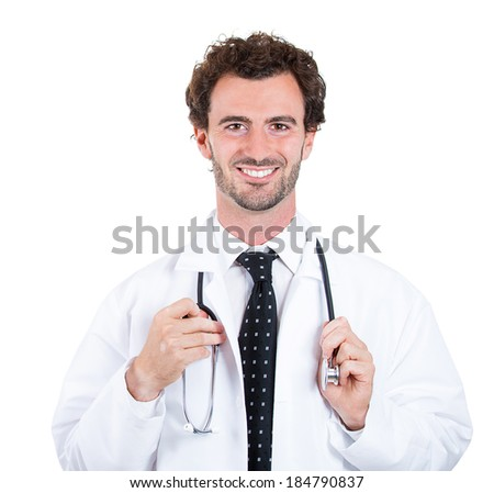 Closeup portrait, happy, confident healthcare professional, dentist, pharmacist, scientist, researcher, doctor, nurse holding stethoscope around neck, isolated white background. Patient care - stock photo