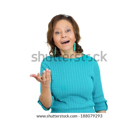 Closeup portrait happy cute, senior mature woman looking excited, surprised in full disbelief, hands in air, isolated white background. Positive human emotions, facial expression, perception - stock photo