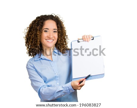 Closeup portrait happy, smiling, confident beautiful business woman showing notepad paper with pen, ready to sign contract isolated white background. Positive human emotion, facial expression feelings - stock photo
