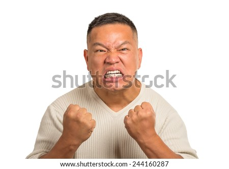 Closeup portrait headshot angry middle aged man with open mouth fist up in air aggressive screaming isolated white background. Negative human emotion face expression feeling body language reaction - stock photo