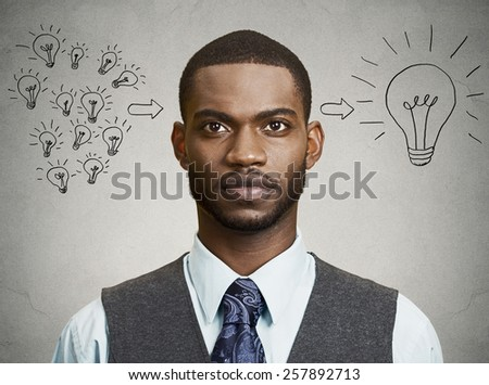 Closeup portrait, headshot, handsome business man has an idea isolated on grey wall background - stock photo