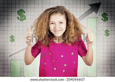 Closeup portrait, headshot smiling, funny looking girl giving thumbs up excited about good economy isolated background dollar sings growth chart. Positive facial expression, emotion financial decision - stock photo