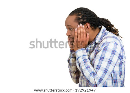 Closeup portrait, headshot upset, sad, depressed, worried young man, student, father, worker, isolated white background. Human face expressions, emotion, feelings, reaction, life perception, mistakes - stock photo