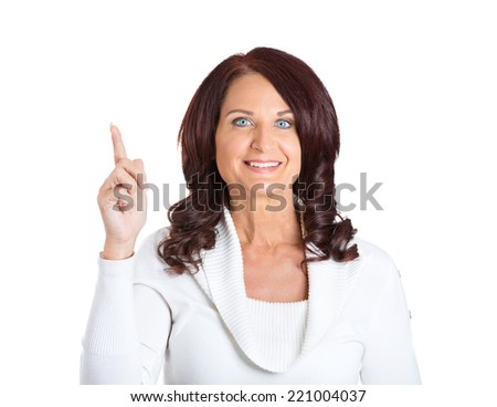 Closeup portrait intelligent excited middle aged woman who just came up with idea aha, isolated white background. Positive human emotion, facial expression feeling, attitude, perception, body language - stock photo