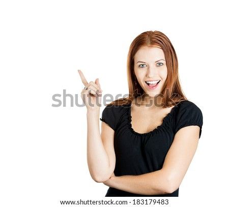 Closeup portrait intelligent excited young woman who just came up with idea aha, isolated white background. Positive human emotion, facial expression feeling, attitude, perception, body language - stock photo