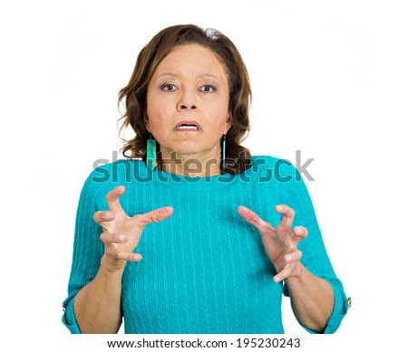 Closeup portrait, mad, angry, upset, hostile, senior mature woman, worker, furious employee, pissed off screaming, hands in air isolated white background. Negative emotions, facial expression reaction - stock photo