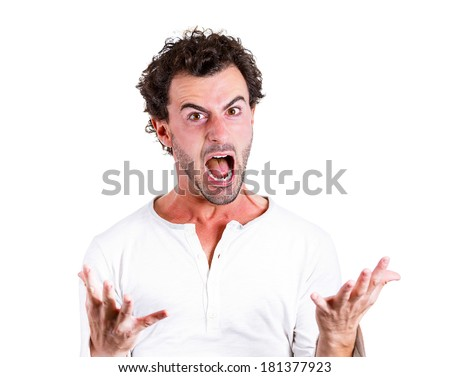 Closeup portrait mad, pissed off business man, employee, guy, screaming, irritated, upset about situation, outcome of his case, isolated white background. Negative human emotions, facial expressions - stock photo