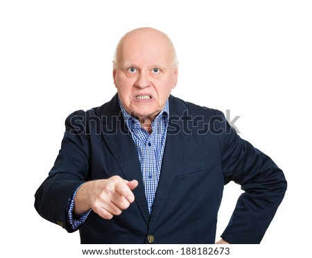 Closeup portrait, mad, serious senior mature man, pointing at you with index finger hand sign gesture, isolated white background. Negative human emotion facial expression feelings, symbols - stock photo