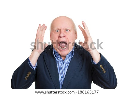 Closeup portrait, mad, upset, senior mature man, funny looking business man, hands in air, open mouth yelling, isolated white background. Negative human emotion facial expression, reaction - stock photo