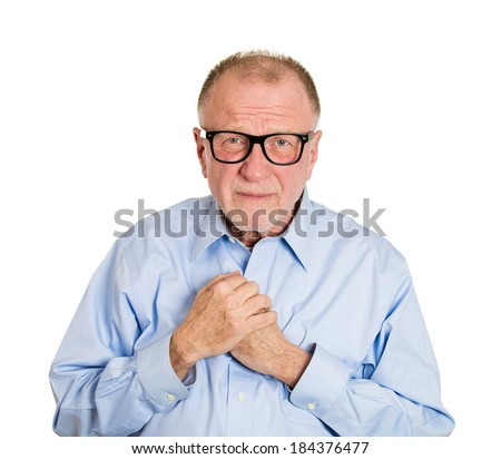 Closeup portrait, nerdy, funny, senior mature man with glasses, very timid, shy, anxious student, socially awkward employee avoiding eye contact isolated, white background. Facial expressions - stock photo