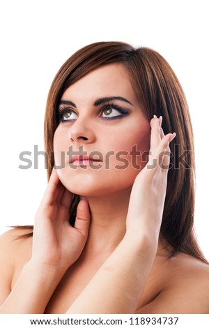 Closeup portrait of a beautiful glamour woman isolated on white background - stock photo