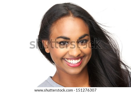 Closeup portrait of a beautiful young woman smiling on isolated white background - stock photo