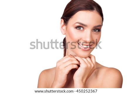 Closeup portrait of a beautiful young woman with perfect body skin. Face beauty - stock photo