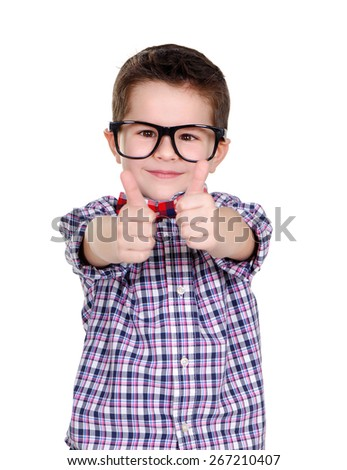 closeup portrait of a boy showing thumbs up - stock photo